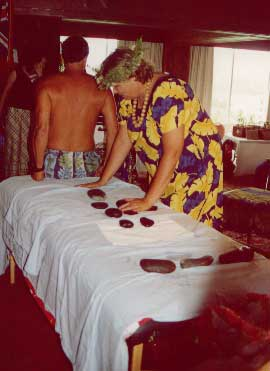Hot stone massage demonstration by Stephanie Gillespie